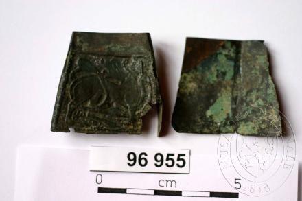 Dobrovíz (u Prahy)  Materiál  bronz  Datace  6.stol. - 10.stol.  Rozměr  Původní rozměry kaptorgy [ ( 40 x 29) / 2) x 36 ] x 8 mm  Inventární číslo  H1-96955