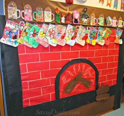 Fireplace Christmas Bulletin Board Idea For Your Classroom #Christmas craft for kids | CraftyMorning.com