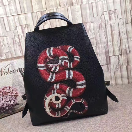 b5c117aedcce Gucci Snake Print Leather Backpack 451000