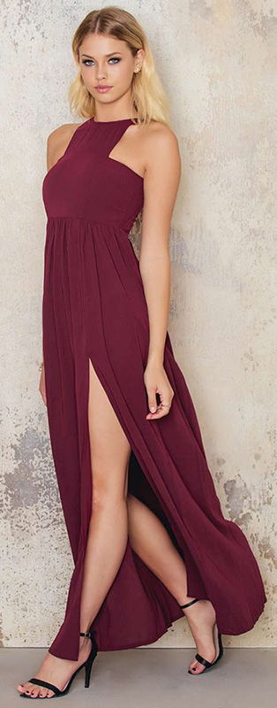 Burgundy maxi dress by NA-KD