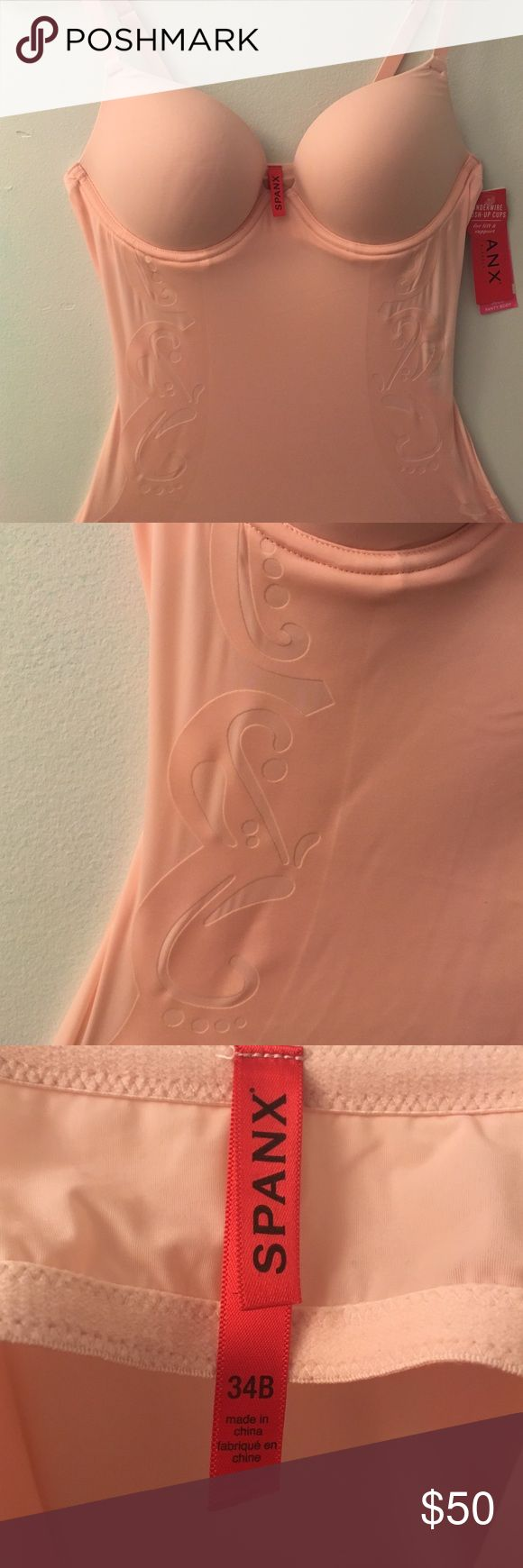 SPANX body suit Light pink Spanx bodysuit. Pretty cutout design along sides. Bra size 34 B. Tags still on, never been worn! SPANX Intimates & Sleepwear Chemises & Slips