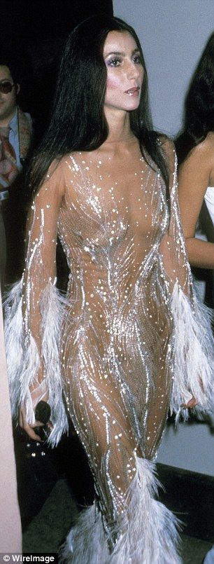 Couture copycat: Kim Kardashian said on Instagram that her Robert Cavalli gown from Monday night's Met Gala was inspired by a Bob Mackie dress that Cher wore in 1974 (pictured)