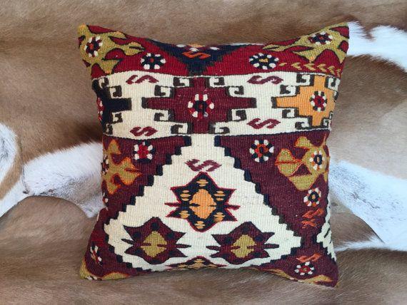 Anatolian rug pillowDecorative pillowVintage kilim by laviaart