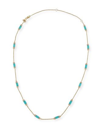 Turquoise+Bar+Station+Necklace+with+Diamonds+by+Sydney+Evan+at+Bergdorf+Goodman.