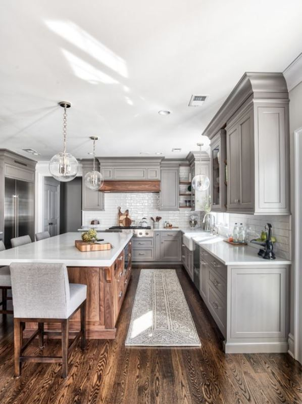White Grey And Natural Wood Kitchen Farmhouse Kitchen Remodel