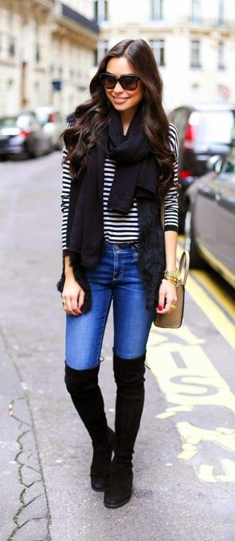 Causal Stripes Sweater +  Faux Fur Vest & Oversized Scarf /Best LoLus Street Fashion