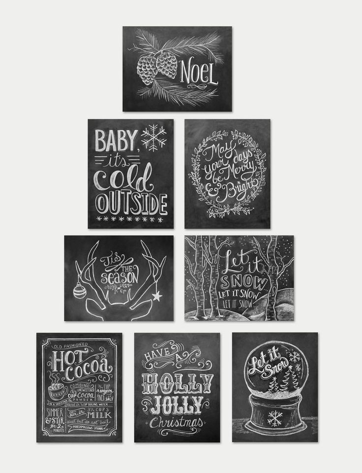 Assorted Boxed A2 Holiday Chalkboard Note Card Set
