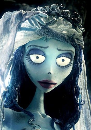 Here is another character Emily from Corpse Bride where button has used the blue and purple hues. Another notable aspect of this character is the shape of the eyebrows, Tim Burton does this a lot with his characters to create a distressed, sad face.