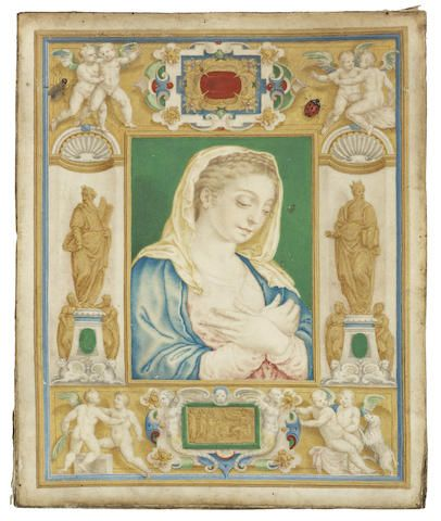Giulio Clovio (Modruš 1498-1578 Rome) A page from an illuminated manuscript showing The Virgin Annunciate surrounded by a decorative border containing niches with statues of Moses and King Solomon, playful cherubs and decorative cartouches with  trompe l'oeil insects unframed