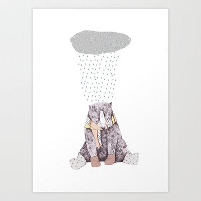 winter time bear Art Print by Chloe Joyce Illustrations - $17.68
