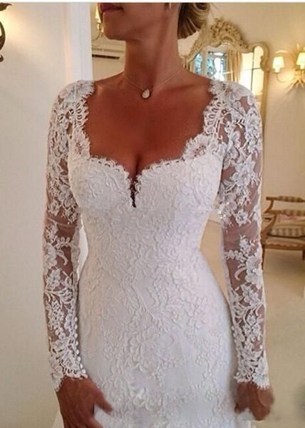 Full Sleeve Trumpet Style Wedding Gown with Lace Appliques and Cathedral Train