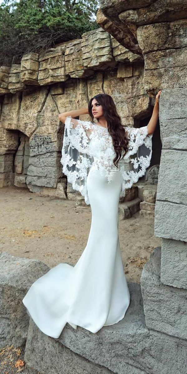 Hottest 27 Wedding Dresses Fall 2018 ❤ trumpet wedding dresses fall 2018 with cape lace simple enzoani ❤ See more: http://www.weddingforward.com/wedding-dresses-fall-2018/ #weddingforward #wedding #bride
