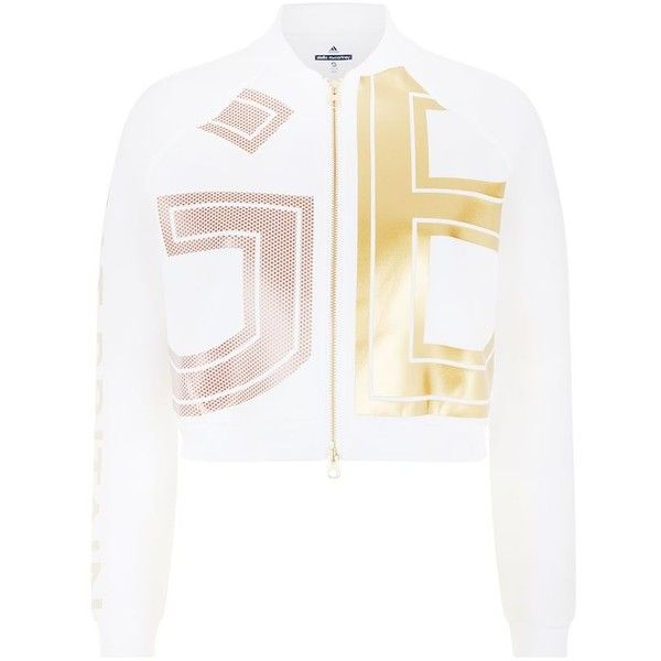 Adidas By Stella McCartney Team GB Gold Foil Cropped Bomber Jacket ($100) ❤ liked on Polyvore featuring adidas