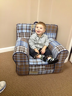His super cute pottery barn chair!