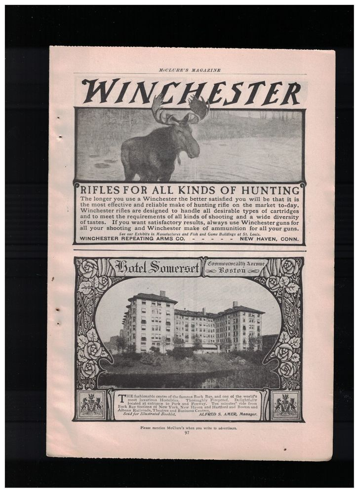 Bull Moose in 1901 Winchester Rifles For All Kinds Of Hunting Ad  #WinchesterRepeatingArmsCompany