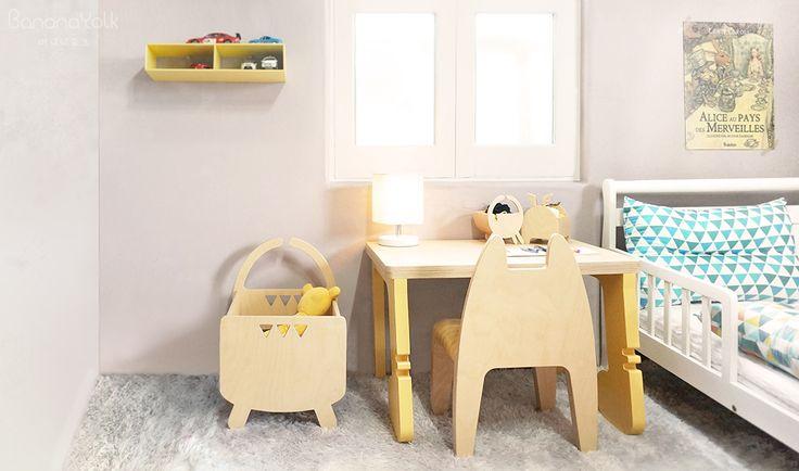 """어린이 원목 가구 """"바나나요크"""" 자작나무, 친환경 마감 고양이 의자, 장화신은 책상, 문어장난감 박스 Kids Furniture Design"""