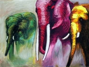 "Saatchi Art Artist Dan Civa; Painting, ""Coloured elephants (2016 no. 15)"" #art"