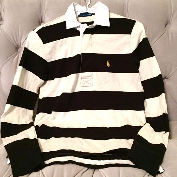 Ralph Lauren women's rugby shirt Ivory and black stripes, white collar, yellow logo on breast, long sleeves (excellent condition!!! only worn once!!!) size S, from Ralph Lauren Ralph Lauren Tops Tees - Long Sleeve