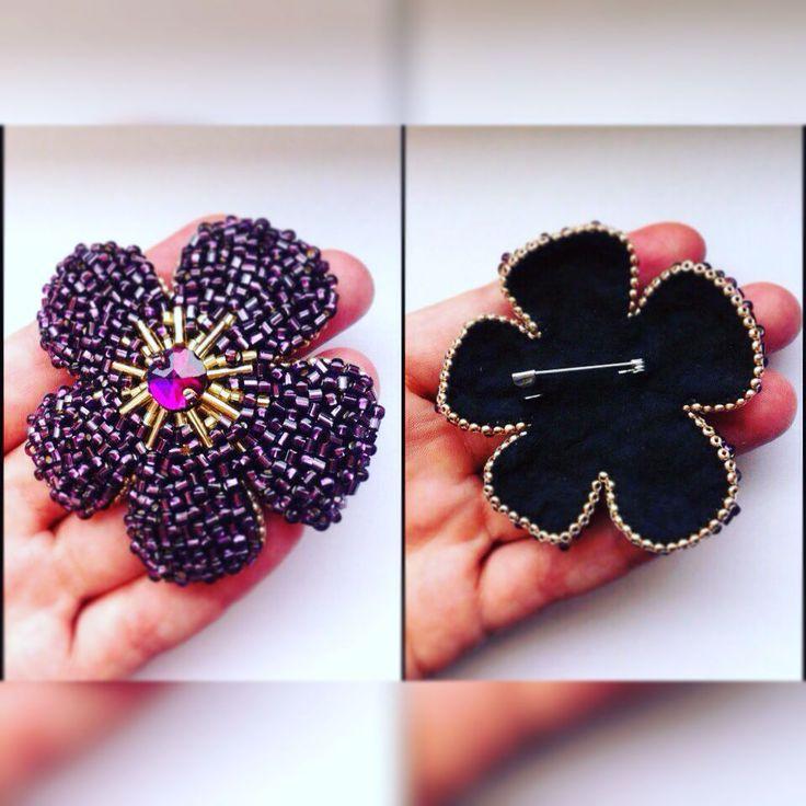 #брошь #фиолетовый #цветок #ручнаяработа