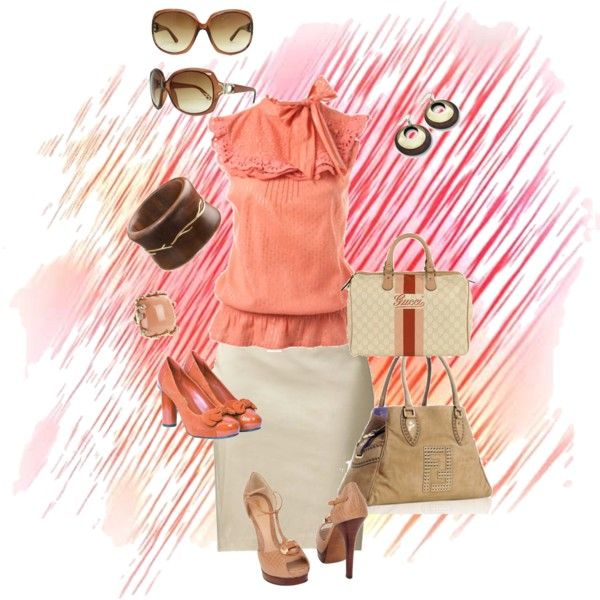 """""""OFICINA"""" by azulabril on Polyvore: Outfit Ideas, Work Office Outfits, Clothes, Clothing Style Ideas, Fashionista Training, Style My Closet, Style Fashion, Coral Color, Coral Top"""