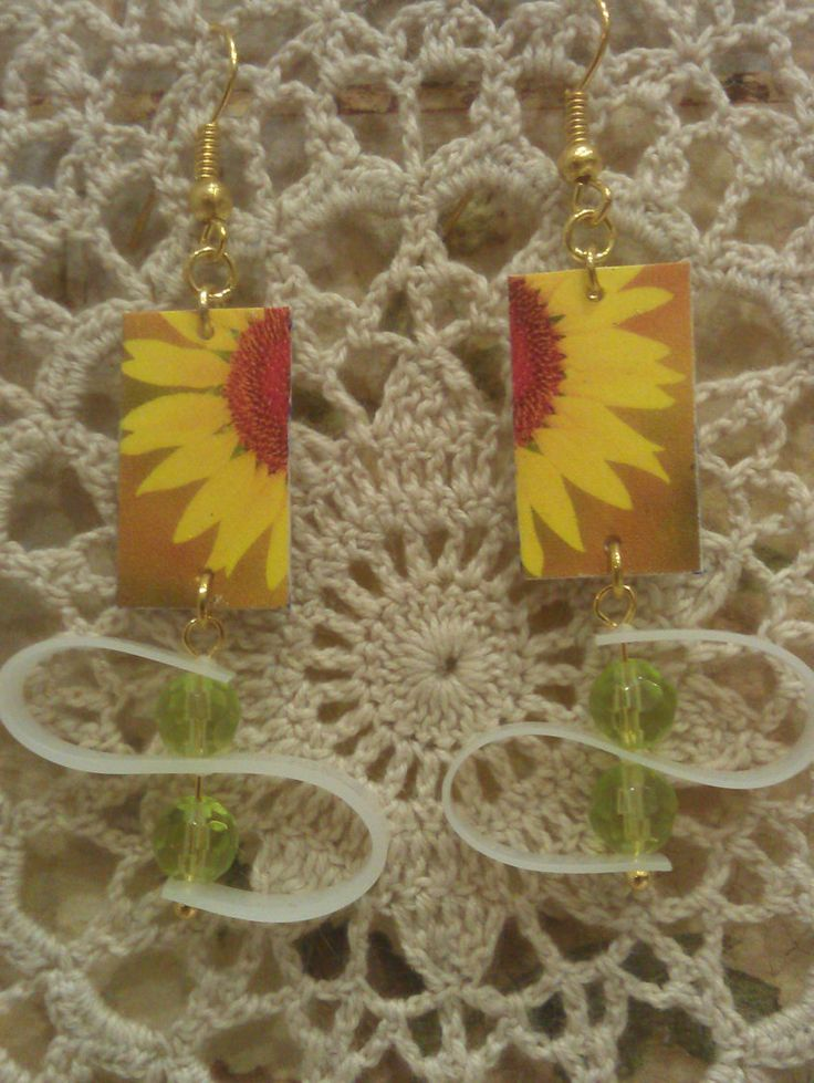 Decoupage Sunflower Recycled Earrings by GreyShackStudio on Etsy