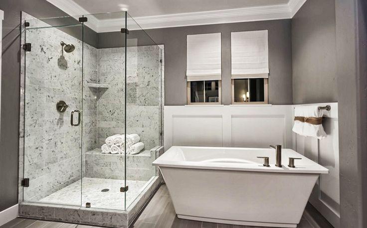 Дизайн маленькой ванной комнаты в сером цвете