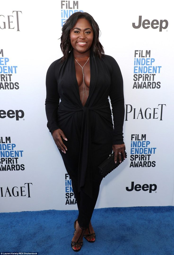 Taking the plunge: Danielle Brooks was an eye-popping sight in a low-cut black jumpsuit...