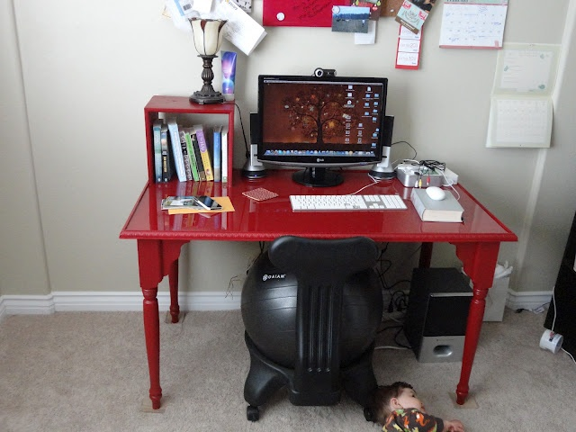 The desk my husband made me and I got to paint.  He even made sure there was a little bookshelf.