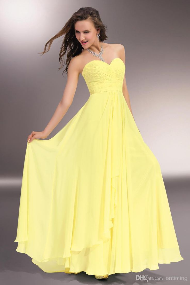 The 25 best discount bridesmaid dresses ideas on pinterest long lq custom all color size new yellow chiffon bridesmaid dresses ruched floor length sweetheart neck more discount 2 piece bridesmaid dress ombrellifo Images