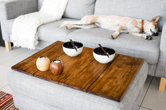Something to think about, now that our new couch has a storage ottoman with it...   Ottoman table top by BackToWood on Etsy, $250.00