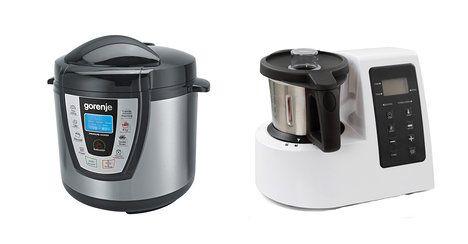 Na foto zleva: Multifunkční hrnec Gorenje MCB 6BA EU, pomalé vaření, vaří v páře i tlaku, peče, smaží, rýžovar. 8 programů. Cena: 2999 Kč. Varmix – multifunkční robot, zastoupí mixér, šlehač, mlýnek, parní hrnec, kutr. Vložíte suroviny, nastavíte teplotu, čas a o zbytek se postará. Cena: 3990 Kč; Archiv firem