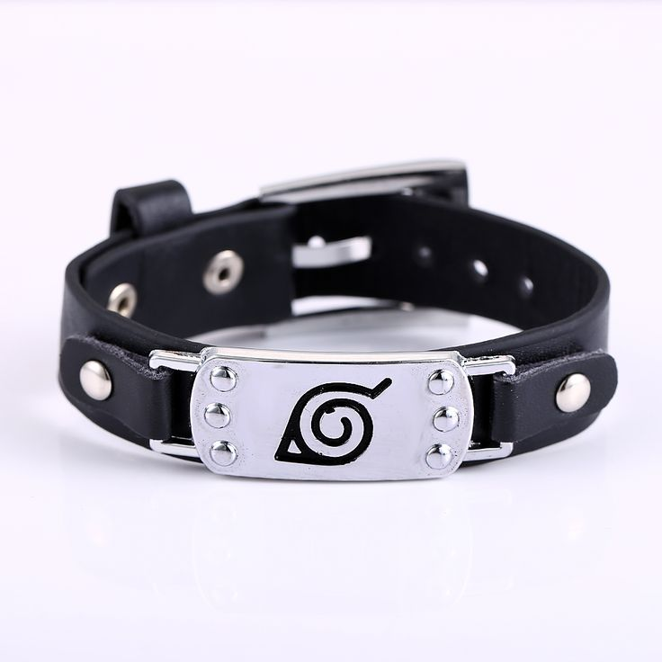 2015 New Cosplay Naruto Punk Fashion Men Women Black Leather Belt Bracelet pulseira masculina Cool Jewelry - free shipping worldwide
