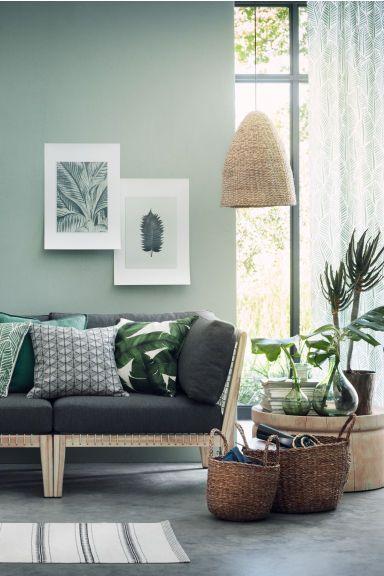 Perdele cu motive, 2 bucăți - Verde/cu frunze - HOME | H&M RO