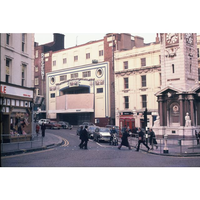 Clock tower Brighton. Regent Cinema before destruction 1973