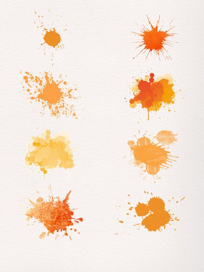 Orange Splash Dotted Gradient Abstract Watercolor Set Watercolor