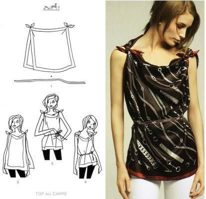 easy tunic from scarves