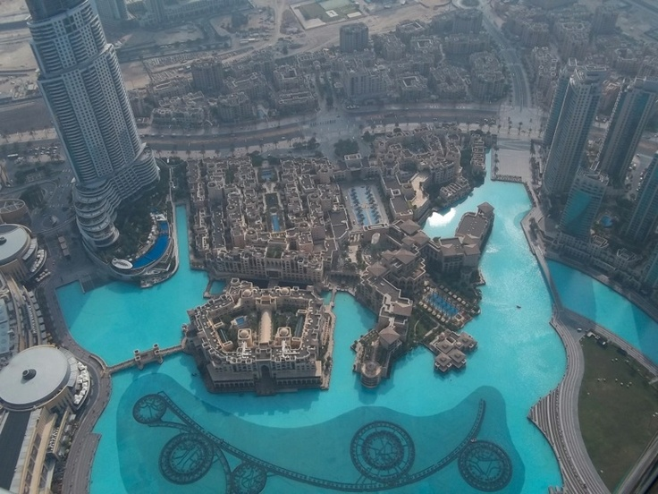 Dubai - top of the Burj Khalifa looking at the fountain.
