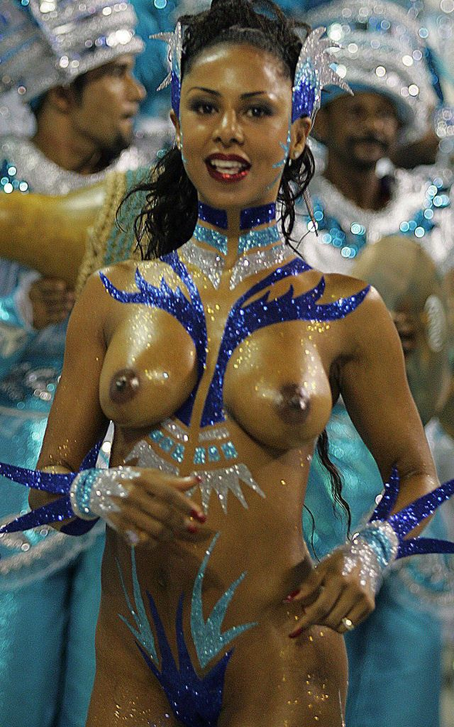 Naked painted body Rio dancer