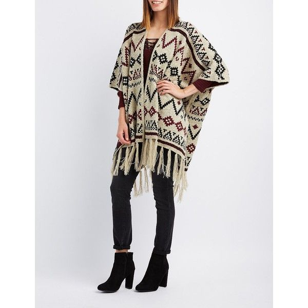 Charlotte Russe Aztec Fringed Poncho Cardigan ($20) ❤ liked on Polyvore featuring tops, cardigans, burgundy cmb, fringe cardigan, tribal print cardigans, patterned cardigans, tribal print kimono and tribal cardigans