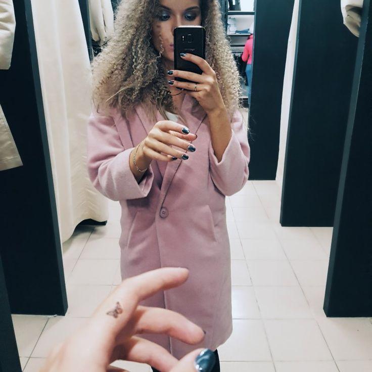 Девушка, стиль, весна, пальто, афро, кудри, блондинка