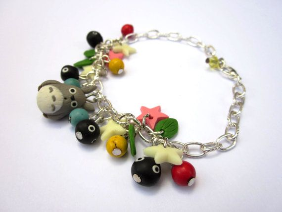 Totoro bracelet with charms made of polymer clay My by Sfiziboom, €9.00