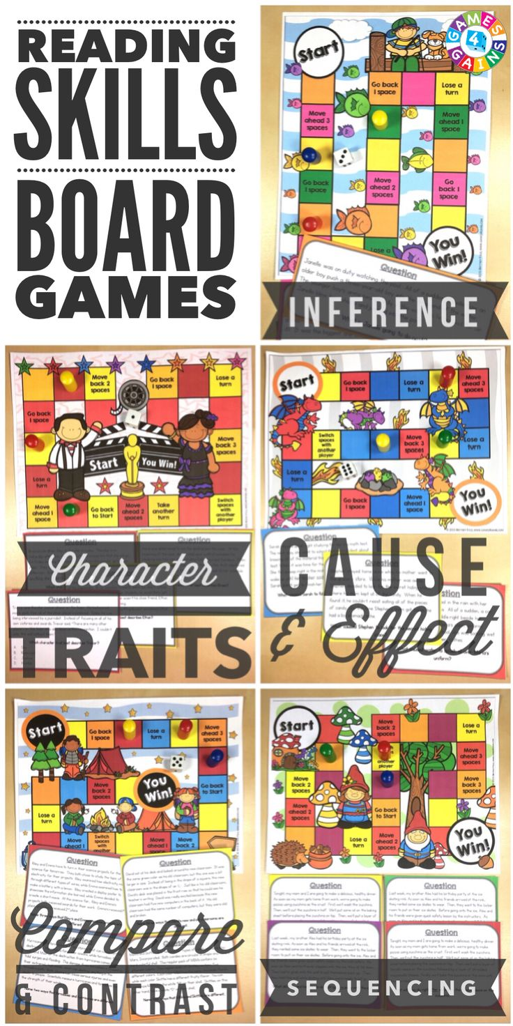 """My students ask to play these everyday!"" Students will love to practice inference, character traits, cause and effect, compare and contrast, and sequence with these engaging reading board games. Each game comes with a game board and 25+ game cards to help student practice these skills in a fun and exciting way!"