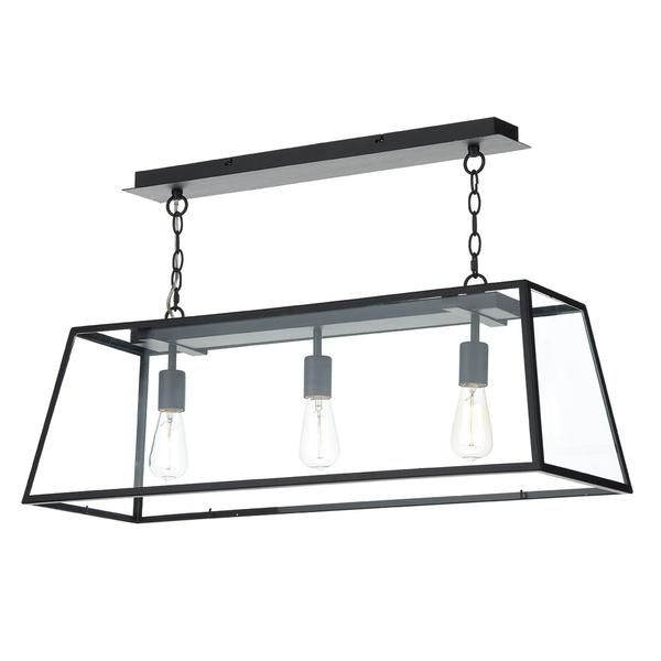 Italy inspired...Black Steel Box Pendant With Glass Panels, Height Adjustable At Point Of Installation.  Finish: Black Bulb: 3x E27 (ES) GLS 60w Excluded Class: 2 - Double Insulated Depth (cm): 24 Height (cm): 185 Drop (cm): 35-185 Width (cm): 84 Diameter (cm): N/A Weight: 8.624 Kg