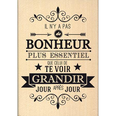 Tampon bois - Envolée de Douceur - Bonheur essentiel  - 9 x 6,5 cm