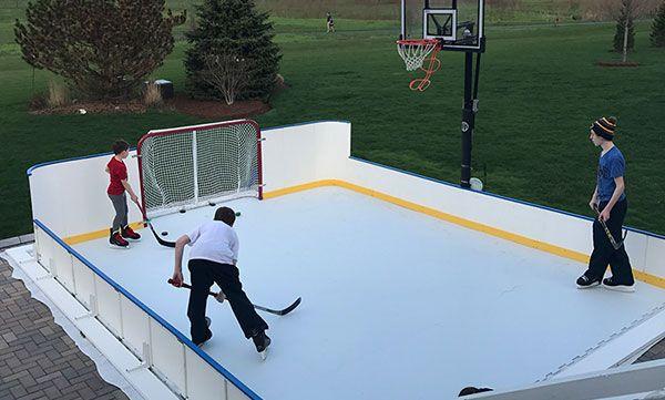 Summer Outdoor Backyard Ice Hockey By Kwikrink Synthetic Ice Synthetic Ice Rink Backyard Ice Rink