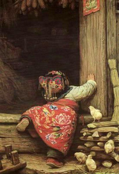 Li ZiJian (Chinese painter)..Beautiful painting of a little girl trying to climb the steps...keep trying  little girl, don't give up, you'll get there!!