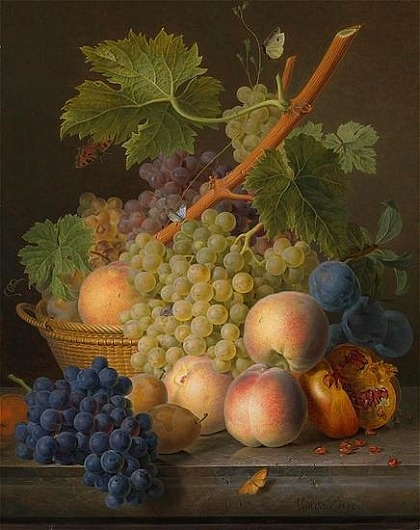 Still Life with Grapes & Peaches in a Basket by Jan Frans van Dael