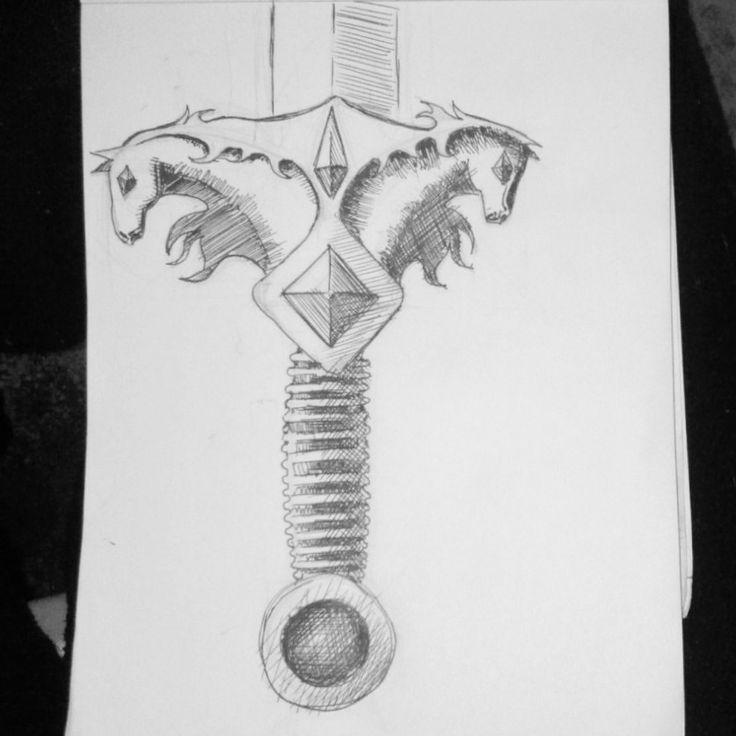 """Sword of the Sun God"" weapon/hilt ornament design"