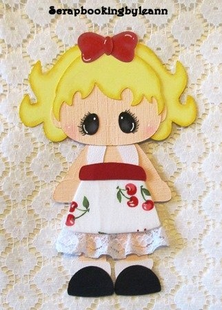 Girl Cherry Dress Paper Piecing for Premade Pages or Borders