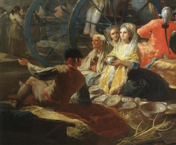 """Detalle de """"El cacharrero"""", cartón de Goya de 1779.  Museo del Prado."""